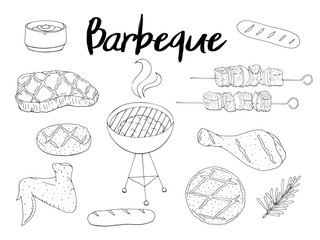 Collection of BBQ objects. set of barbecue elements, white and black. Hand drawn. Fast food. Can be used for cafe and restaurant menus, packaging, advertisements.