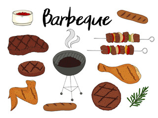 Collection of BBQ objects. Set of barbecue elements. Hand drawn. Fast food. Can be used for cafe and restaurant menus, packaging, advertisements.