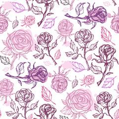 Hand drawn doodle floral flower rose pattern background