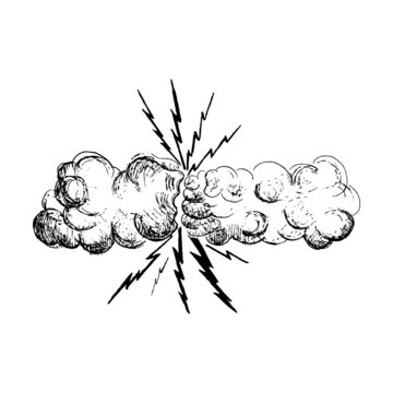 Thunderstorm vector,  vector sketch illustration two clouds, two hands, thunderstorm, cartoon thunder thunderstorm, black and white hand-drawn vector drawing on white background for your design