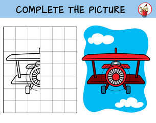 Complete the picture of a airplane. Copy the picture. Coloring book. Educational game for children. Cartoon vector illustration