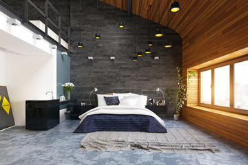 modern loft bedroom interior