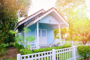 little house garden / Blue house cottage garden summer in green plant and tree background