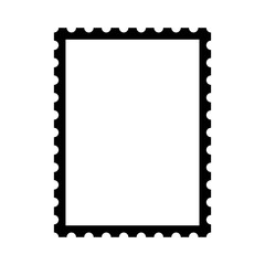 Blank postage stamp. Clean postage stamp template. Postage icon.