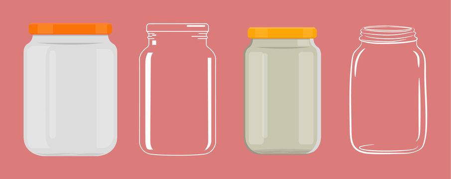 Empty glass jar without transparency