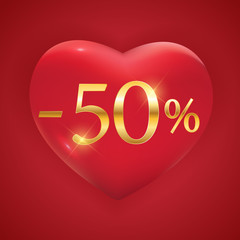 Valentines Day Holiday Discount banner Sale poster. Vector Illustration