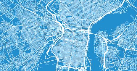 Urban vector city map of Philadelphia, Pennsylvania, United States of America Wall mural