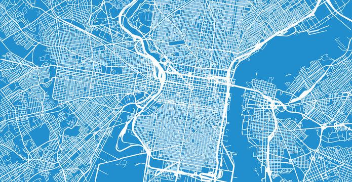 Urban vector city map of Philadelphia, Pennsylvania, United States of America