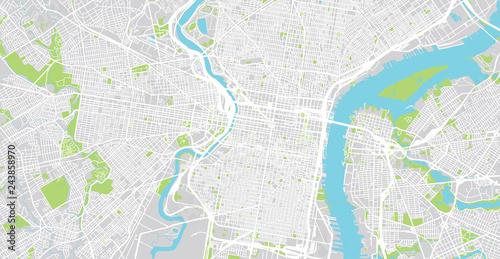 Urban vector city map of Philadelphia, Pennsylvania, United States ...