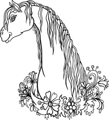 vector illustration of an white horse