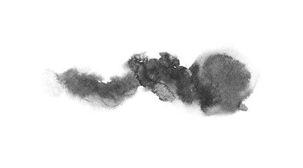 watercolor black and gray, grey texture splash isolated on white background, for text, banner, card, invitation, design for tag and label, logo, brand