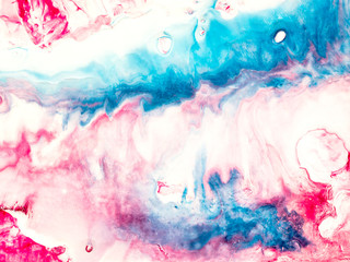 Blue and pink creative abstract hand painted background.