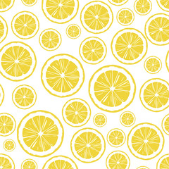 round lemon slices, hand-drawn seamless vector background