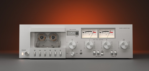 Vintage stereo cassette deck recorder closeup, detail 3D rendering isolated on dark colour background. 3D render. 3d Illustration