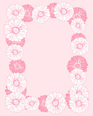 Wreath, frame with pink and white flowers (zinnia, camomile, sunflower, daisy). Elegant floral background for Save the date, Women`s day, Valentine`s day, Mother`s day card. Vector illustration.
