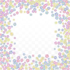 Colorful Vector Realistic Petals Falling on Transparent Background.  Spring Romantic Flowers Illustration. Flying Petals. Sakura Spa Design. Blossom Confetti. Design Elements for Wedding Decoration.
