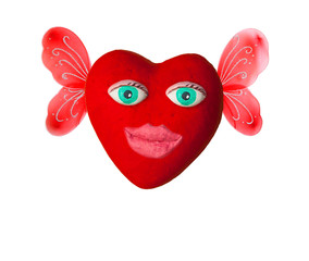 Cartoon heart with eyes and lips. On Valentine's day