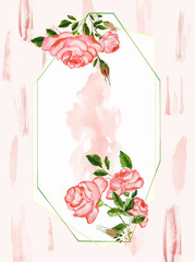 Watercolor hand drawn roses buds and flowers variety in frame. Isolated floral illustration on white background. Wedding or st Valentine greeting card