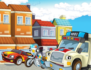 cartoon scene with police chase motorcycle driving through the city policeman and ambulance - illustration for children