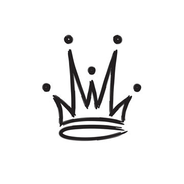 Crown icon hand drawn style isolated on white background for queen logo, princess diadem symbol, doodle illustration, pop art element, beauty and fashion shopping concept. vector 10 eps