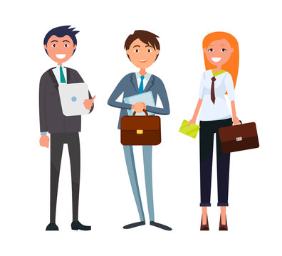 Businesswoman and Businessman with Business Papers