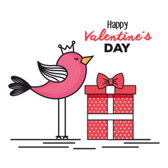 valentines day card with bird and gift