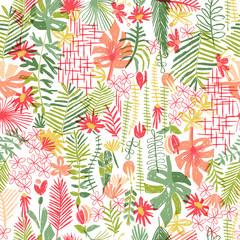 Tropical flower composition, seamless pattern, hand drawn illustration. Floral bouquet, exotic plant, doodle style