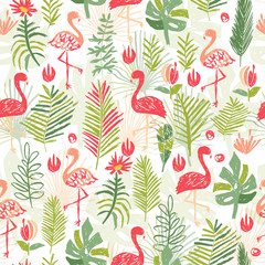 Tropical flower composition, jungle seamless pattern, hand drawn illustration. Floral bouquet, exotic plant and bird wallpaper in doodle style