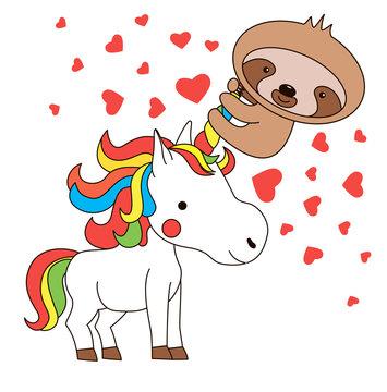 Sloth riding unicorn's horn. Kawaii illustration. St. Valentine's day card. Cute animals. Vector illustration.