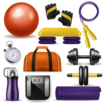 Fitness equipment vector bodybuilding dumpbell fitball and step board for sport exercises in gym illustration set of fit mat sportive bottle and workout jump rope isolated on white background