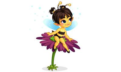 beautiful honey bee fairy sitting on the flower