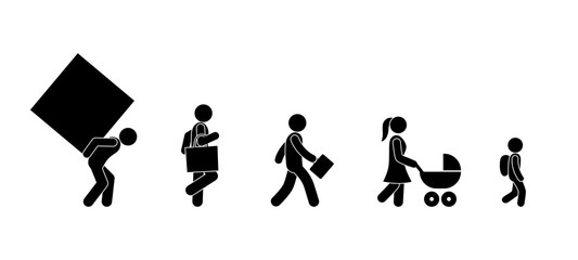 people walk pictogram, stick figure human icon, set of silhouettes of people carrying cargo
