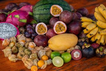 Fresh tropical fruits of Thailand still life