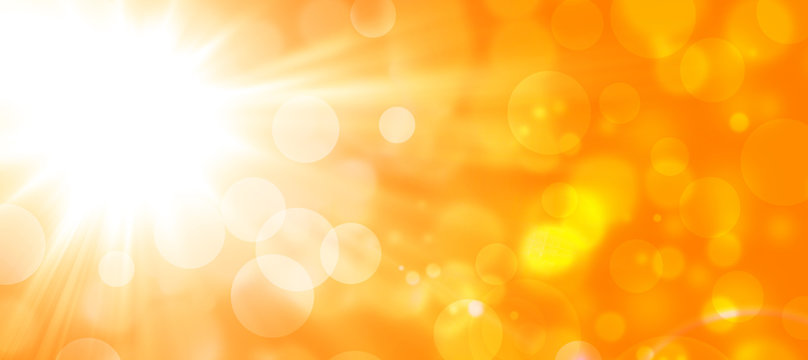 abstract orange background with sun and bokeh