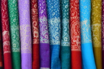 Colorful fabrics closeup view