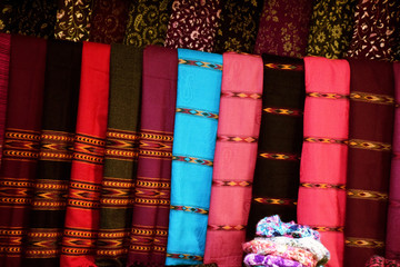 Indian fabric with traditional borders and motifs