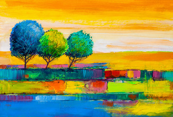 Foto auf Acrylglas Melone Trees, oil painting, artistic background