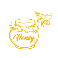 Honey Bee, Outline Logo Design. Isolated Vector. Yellow Engraved Element. Vintage Style Illustration of Flying Wasp