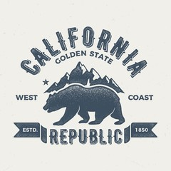 California Golden State - Aged Tee Design For Print