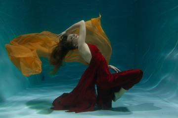 pretty underwater fashion girl swimming on holidays