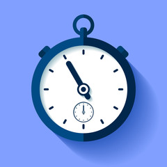 Stopwatch icon in flat style, round timer on color background. Sport clock. Time tool. Vector design element for you business project