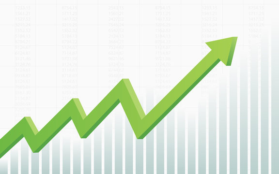 abstract financial chart with 3d green color uptrend line arrow graph go up and stock market on white color background