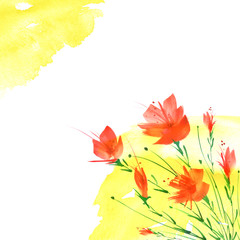 Printed kitchen splashbacks Beige Watercolor vintage picture, border of a botanical pattern, red poppy, rose, lily, wild flowers, grass, plants, leaves. On an isolated background. Abstract splash of yellow paint. Sunny day.
