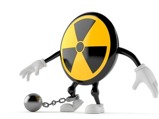 Radioactive character with prison ball