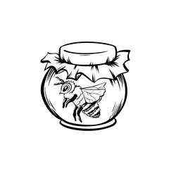 Honey Bee, Outline Logo Design. Isolated Vector. Black Engraved Element. Vintage Style Illustration of Flying Wasp
