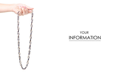 Jewelery bijouterie chain in hand pattern on white background isolation