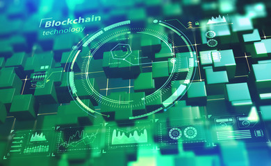 Blockchain technology. Future cyberspace. Information chains in a decentralized global system. 3D illustration with HUD elements
