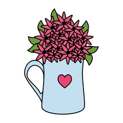 coffee cup with heart and roses flowers