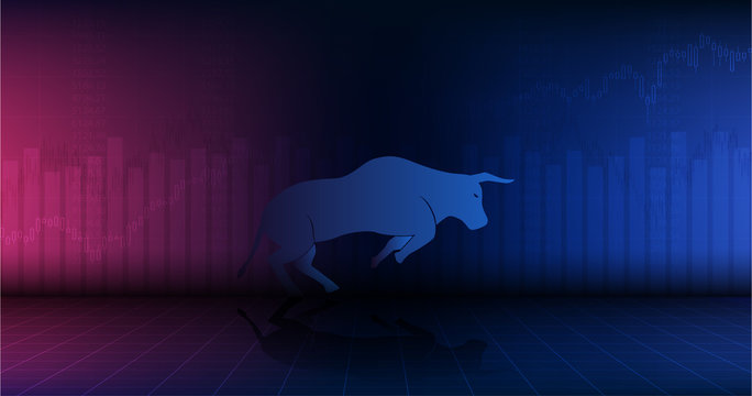 Widescreen Abstract financial chart with uptrend line graph and bull go up in stock market on red and blue color background