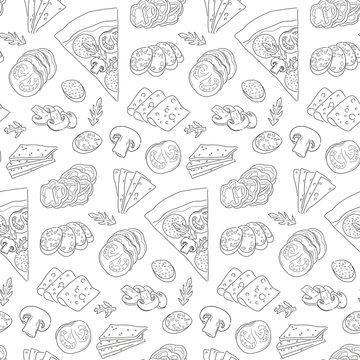 seamless pizza pattern